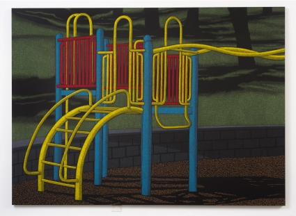 "Location (Playground no.1) 2014, oil pastel on canvas 96"" x 132"""