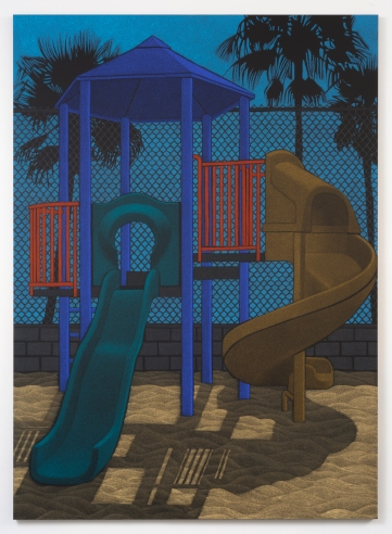 "Location (Playground no.5) 2014, oil pastel on canvas 132"" x 96"""